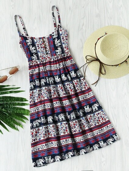 Aztec Print Elastic Back Cami Dress