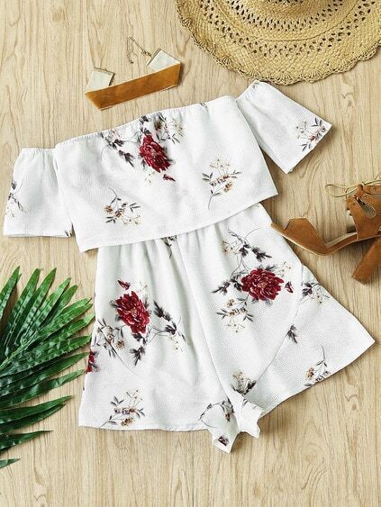 Off Shoulder Floral Print Layered Romper