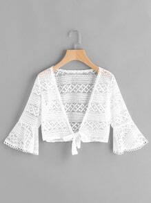 Fluted Sleeve Knot Open Front Lace Top