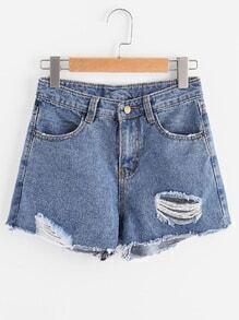 Distress Fray Hem Denim Shorts