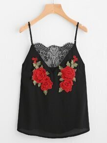 Rose Patch Lace Insert Cami Top