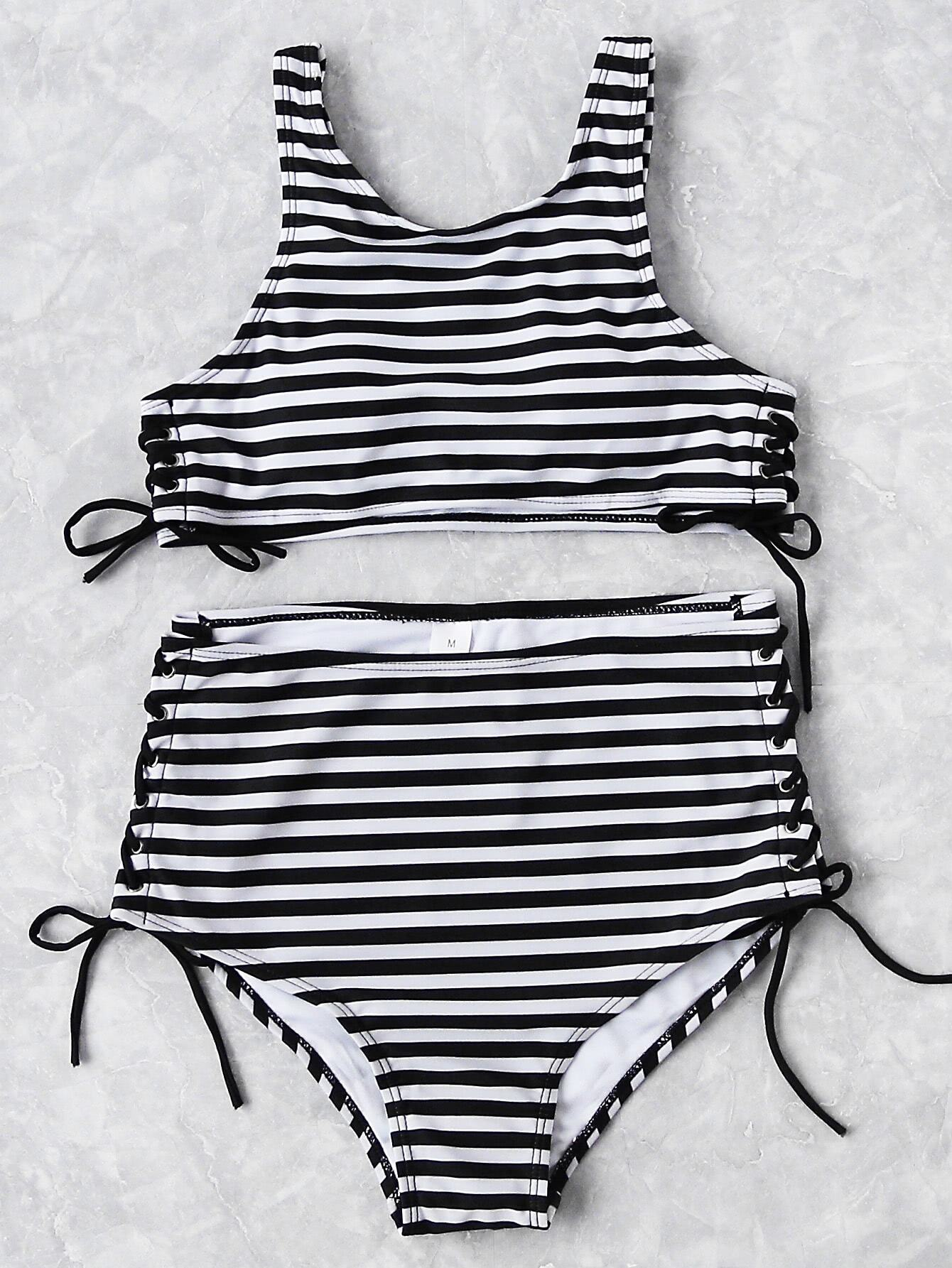 Striped Print Side Lace High Waist Bikini Set
