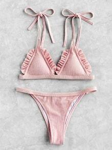 Frill Trim Ribbed Triangle Bikini Set