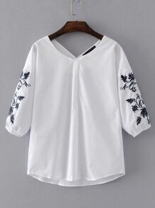 Drop Shoulder Seam Embroidery Blouse