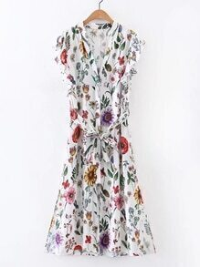 Bluse Kleid mit Blumenmuster und Band um die Taille