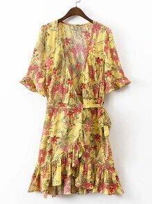 Plunging V-Neckline Ruffle Trim Tie Waist Wrap Dress