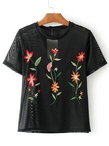 Flower Embroidery Sheer Top