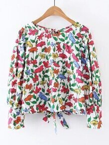 Bluse mit Blumenmuster und Knoten hinten