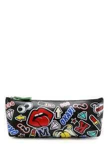 Mixed Pattern PU Pouch Bag
