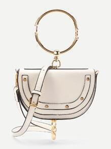 Half Moon Shaped Crossbody Bag With Ring Handle