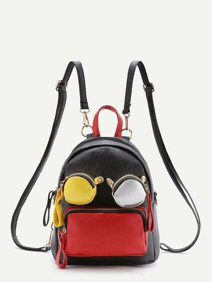 Contrast Pocket Front PU Backpack