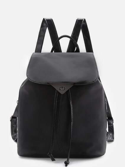 Twist Lock Detail PU Backpack