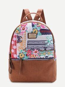 Calico Print Metal Detail Backpack