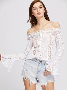 Tasseled Tie Neck Lace Panel Bell Sleeve Eyelet Embroidered Top