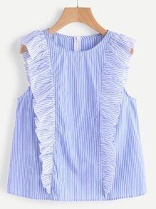 Ruffle Cap Sleeve Zip Back Striped Top