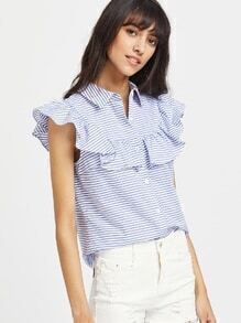 Frill Cap Sleeve Button Up Striped Blouse