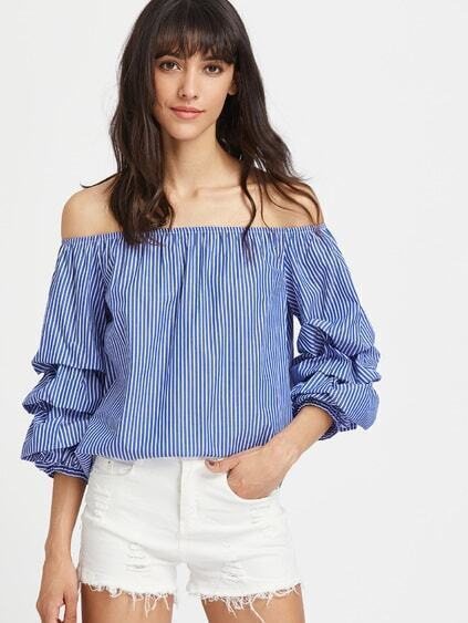Off Shoulder Ruched 3/4 Sleeve Pinstripe Top