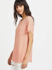Scallop Trim Longline Tunic Top