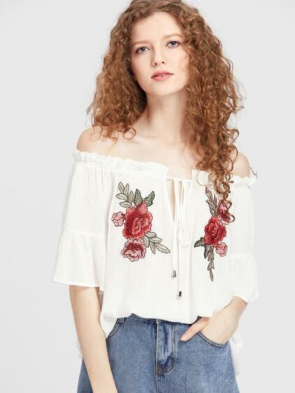 Flower Applique V Notch Tie Front Crinkle Top