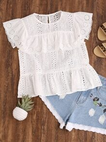 Ruffle Cap Sleeve Buttoned Keyhole Eyelet Embroidered Top