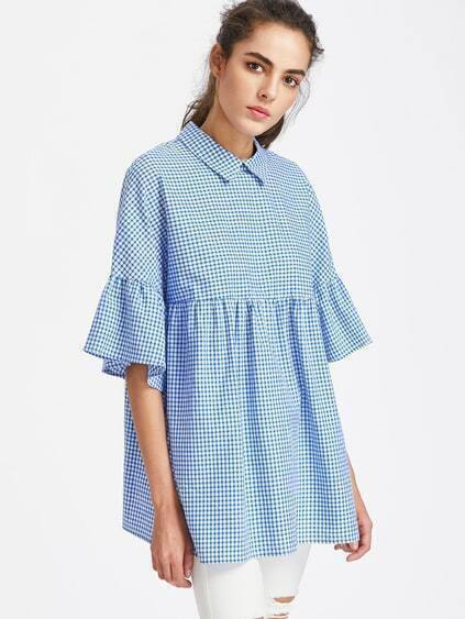 Pointed Collar Buttoned Keyhole Trumpet Sleeve Gingham Smock Top
