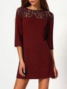 Illusion Lace Neck Buttoned Keyhole 3/4 Sleeve Dress
