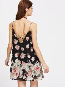 Allover Rose Print Crisscross V Back Swing Cami Dress