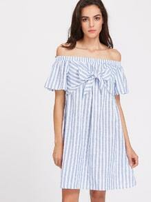 Bow Tie Front Bell Sleeve Striped Bardot Dress