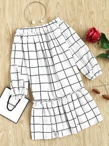 Elasticized Neckline And Cuff Frilled Drop Waist Grid Dress