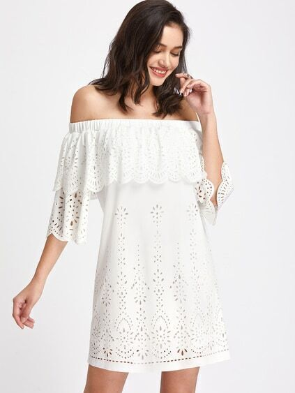 Scallop Edge Flounce Neckline Laser Cut Dress