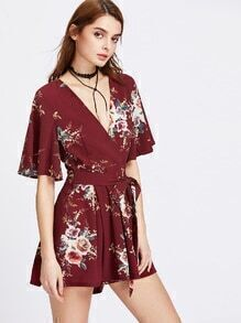 Flutter Sleeve Surplice Front Pleated Belted Playsuit