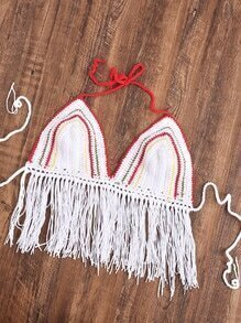 Fringe Hem Striped Crochet Halter Bralette