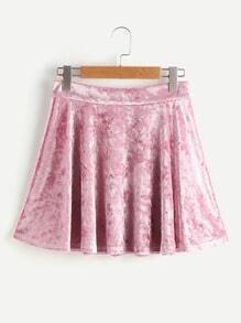 Zip Back Crushed Velvet Circle Skirt