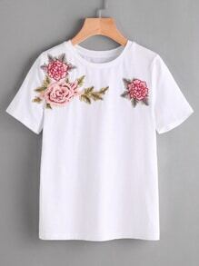 3D Flower Embellished T-shirt