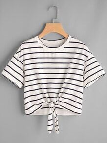 Drop Shoulder Tie Front Striped Crop Tee