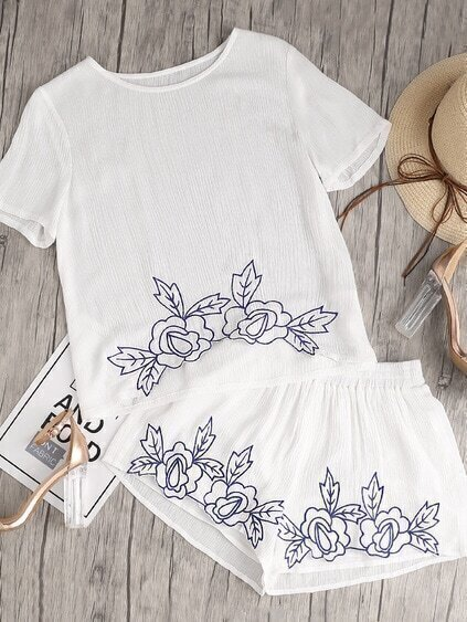 Flower Embroidered Crinkle Top And Shirred Waist Shorts Co-Ord
