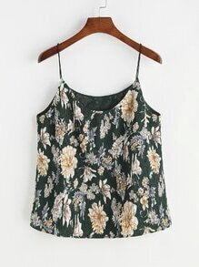 Flower Print Textured Cami Top