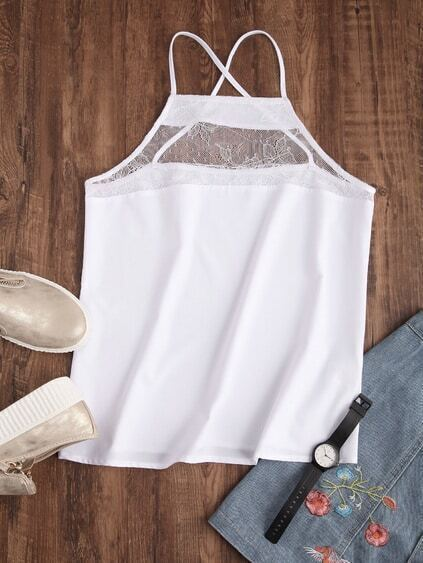 Sheer Lace Neck Crisscross Cami Top