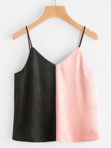 Double Strap Contrast Satin Cami Top