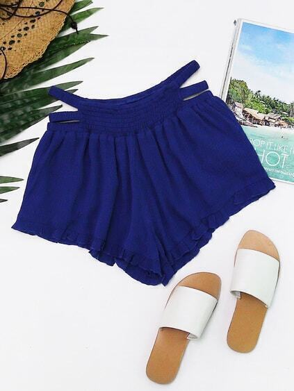 Smocked Strappy Waistband Ruffle Hem Shorts