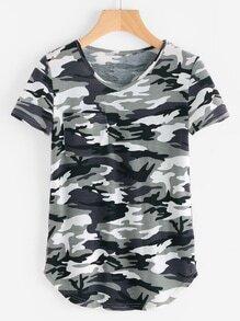 Pocket Front Curved Hem Camo T-shirt