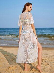 Floral Lace Tassel Tie Beach Kimono