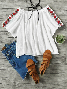 Boat Neckline Floral Embroidered Pleated Blouse
