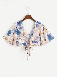 Floral Print Random Cut Out Self Tie Crop Top