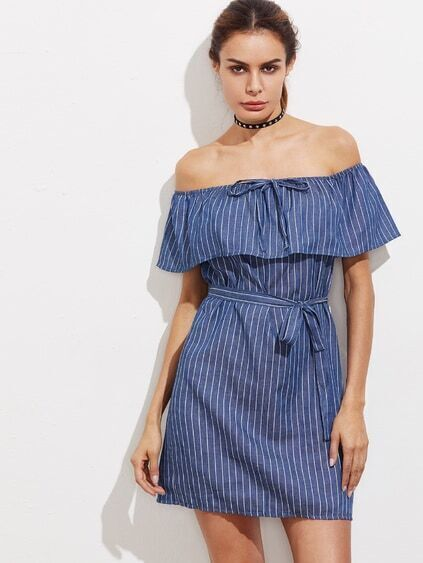 Flounce Layered Neckline Drawstring Stripe Dress With Belt