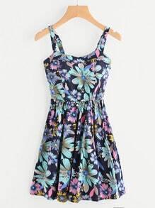 Chrysanthemum Print Random A Line Cami Dress