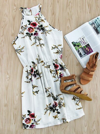 Floral Print Random Self Tie Split Back Cami Dress