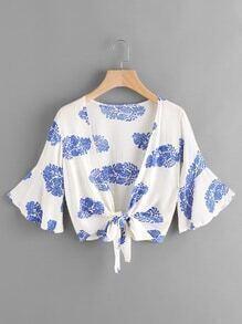 Flute Sleeve Printed Random Knot Open Front Top
