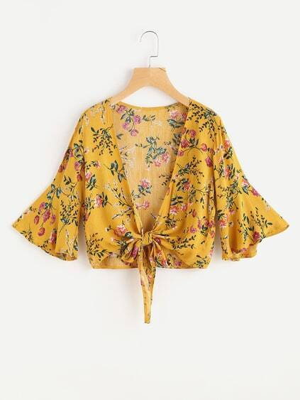 Flute Sleeve Floral Print Random Knot Open Front Top