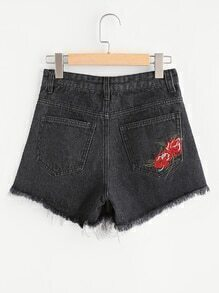 Embroidered Back Fray Hem Denim Shorts